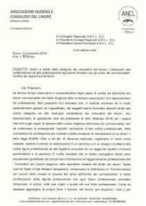 Lettera del Presidente ANCL Longobardi